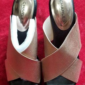 Rose gold elastic wedge sandals